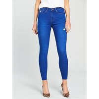 V by Very Ella High Waist Ripped Skinny Jean - Bright Blue , Bright Blue, Size 18, Women