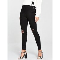 V by Very Charley High Waisted Super Skinny Rip Jean, Black, Size 10, Women