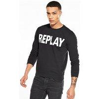 Replay Logo Sweatshirt, Black, Size Xl, Men