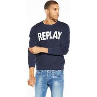 Replay Logo Sweatshirt, Midnight Blue, Size Xl, Men