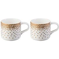Price & Kensington Set Of 2 Confetti Metallic Stacking Mugs - Gold
