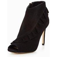 KAREN MILLEN Suede Frill Shoe Boots, Black, Size 4, Women