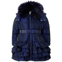 Monsoon Baby Navy Molly Padded Coat, Navy, Size 2-3 Years
