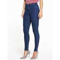 V by Very Addison High Waisted Super Skinny Jean - Indigo, Indigo, Size 14, Inside Leg Regular, Women
