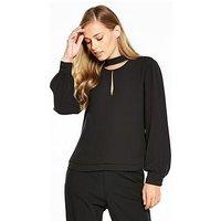 KAREN MILLEN Choker Blouse - Black, Black, Size 6, Women