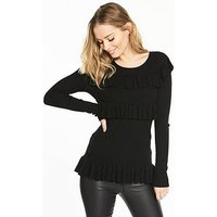V by Very Ribbed Tiered Frill Jumper, Black, Size 8, Women