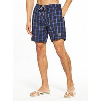 Speedo Check Leisure 18 Inch Water Shorts, Grey/Turquoise, Size S, Men