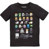 Boys, Minecraft Sprites T-shirt, Black, Size Age: 6-7 Years