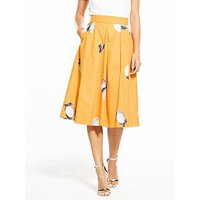 BOSS Box Pleat Lemon Printed Midi Skirt - Orange, Orange, Size 12, Women