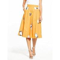 Boss Box Pleat Lemon Printed Midi Skirt - Orange