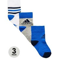 Boys, adidas Younger Boy Pk 3 Ankle Socks, Blue, Size 12-2