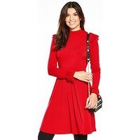 V by Very Frill Day Dress, Red, Size 8, Women