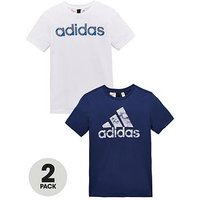 Boys, adidas Older Boy Pack 2 Tees, Blue/White, Size 5-6 Years