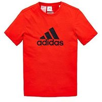 Boys, adidas Older Boy Prime Logo Tee, Red, Size 9-10 Years