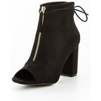 V by Very Sapphire Zip Front Shoe Boot - Black, Black, Size 3, Women