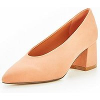 V by Very Opal High Vamp Low Block Heel Court Shoe - Peach, Nude, Size 7, Women