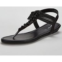 V by Very Moonlight Embellished Low Wedge Sandal - Black, Black, Size 3, Women