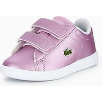 Lacoste Carnaby Evo 218 Strap Trainer, Light Purple, Size 8 Younger
