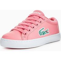 Lacoste Straightset Lace 118 1 Trainer, Pink, Size 11 Younger