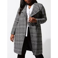 RI Plus Check Robe Coat, Black, Size 28, Women