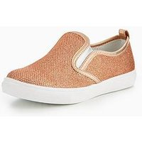 V by Very Chloe Glitter Slip On Plimsoll, Pink, Size 10 Younger