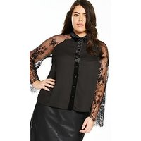 Lost Ink Plus Shirt With Lace Sleeve - Black, Black, Size 16, Women