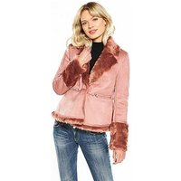 Lost Ink Short Skirted Shearling Jacket - Pink, Pink, Size 14, Women