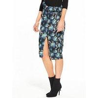 Lost Ink Butterfly Print Ruffle Pencil Skirt, Multi, Size 14, Women