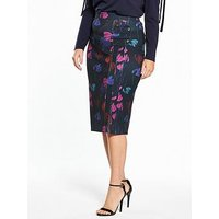 Lost Ink Plus Lost Ink Curve Pencil Skirt In Rainbow Orchid Print, Multi, Size 20, Women