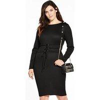 LOST INK CURVE Slinky Bodycon Dress With Corset Tie - Black, Black, Size 26, Women