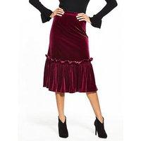 Lost Ink Velvet Frill Hem Pencil Skirt - Burgundy, Burgundy, Size 16, Women