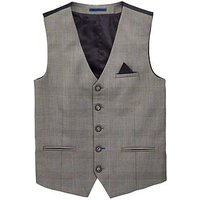 Boys, V by Very Occasionwear Smart Waistcoat, Grey Check, Size Age: 12 Years