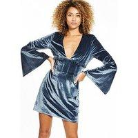 Lost Ink Velvet Mini Dress - Navy, Navy, Size 10, Women