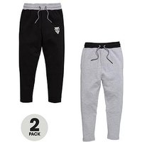 Boys, V by Very 2 Pk Joggers, Black / Charcoal, Size Age: 7 Years