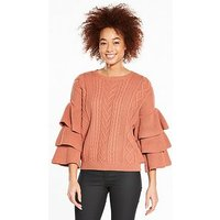 V by Very Tiered Sleeve Cable Jumper - Berry Rose, Berry Rose, Size 14, Women