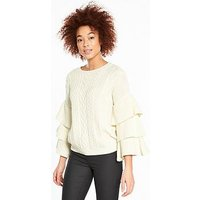 V by Very Tiered Sleeve Cable Jumper, Ivory, Size 10, Women