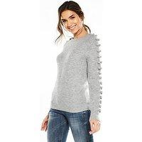 V by Very Pom Pom Sleeve Detail Jumper - Grey Marl, Grey Marl, Size 12, Women