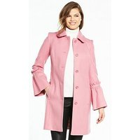 V by Very Fluted Sleeve Dolly Coat - Pink, Pink, Size 14, Women