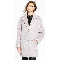 V by Very Oversized Texture Coat - Pale Lilac, Pale Lilac, Size 22, Women