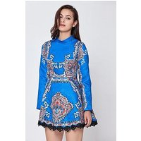 COMINO COUTURE Long Sleeve Skater Dress, Blue, Size 16, Women