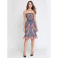 COMINO COUTURE Comino Couture Bandeau Paisley Midi Dress, Multi, Size 14, Women