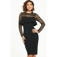 Myleene Klass Lace Yoke Frill Pencil Dress - Black, Black, Size 16, Women