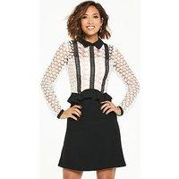 Myleene Klass Lace Frill Skater Dress - Mono, Mono, Size 12, Women