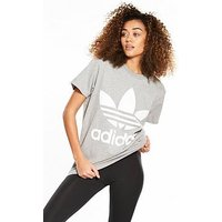adidas Originals adicolor Big Trefoil Tee - Grey, Medium Grey Heather, Size 18, Women