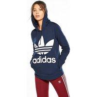 adidas Originals adicolor Trefoil Hoodie - Navy, Navy, Size 8, Women