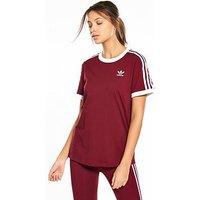 adidas Originals 3 Stripes Tee, Burgundy, Size 6, Women