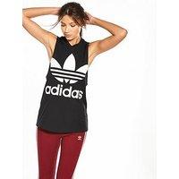adidas Originals adicolor Trefoil Tank - Black, Black, Size 16, Women