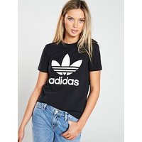 adidas Originals adicolor Trefoil Tee - Black, Black, Size 16, Women