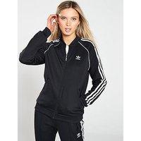 adidas Originals adicolor Superstar Track Top - Black, Black, Size 8, Women
