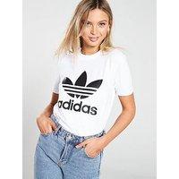adidas Originals adicolor Trefoil Tee - White/Black, White, Size 18, Women